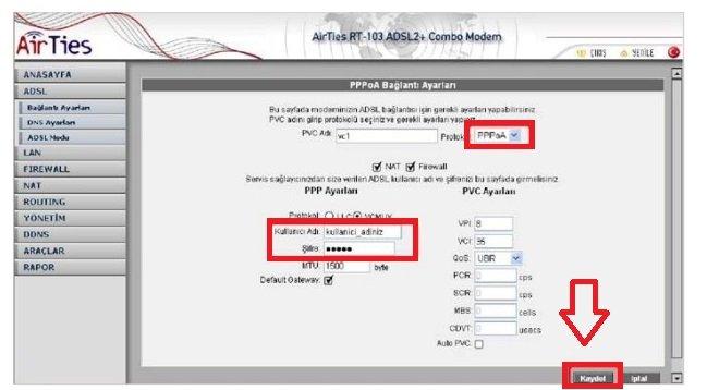 Airties RT 103 Modem Kurulumu Resimli Anlatım, Airties RT 103 Modem Kurulumu, Airties RT 103 Modem Ayarları